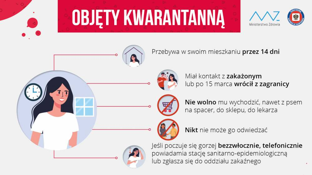 Plakat Ministerstwa Zdrowia informujący o kwarantannie