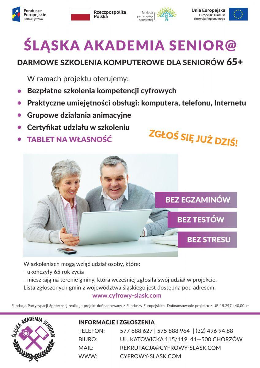 Plakat Śląskiej Akademii Seniora. Dwie osoby, kobieta i mężczyzna